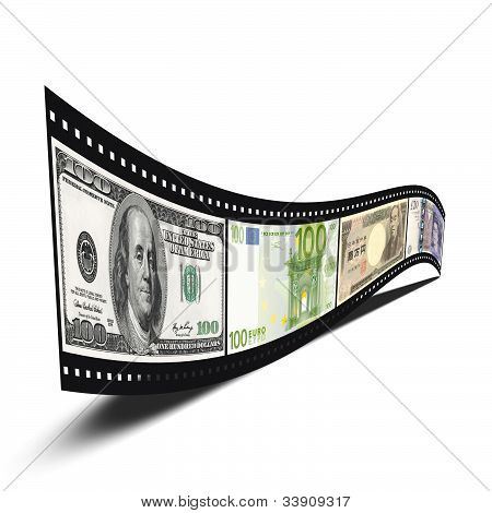 Film Strip With Dollars, Euro, Yen, Pound Banknote Pictures Isolated Over White