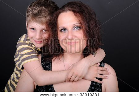 Woman And Boy In Thh Studio