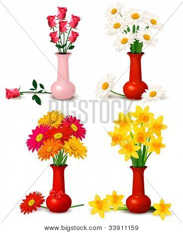 Big collection of spring and summer colorful flowers in vases. Vector illustration.