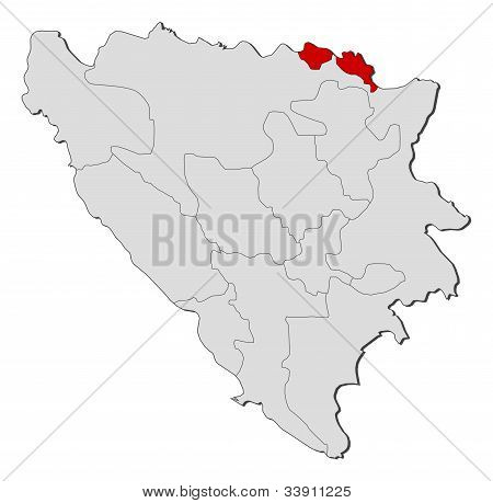 Map Of Bosnia And Herzegovina, Posavina Highlighted
