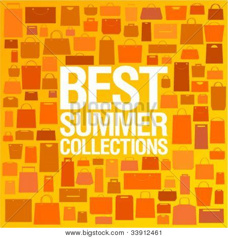 Best summer collections design template with shopping bags pattern.