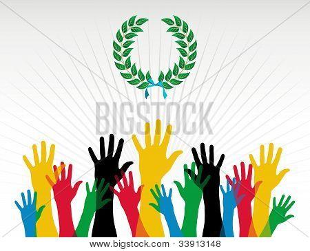 Olympics Hands Colours Laurel Wreath