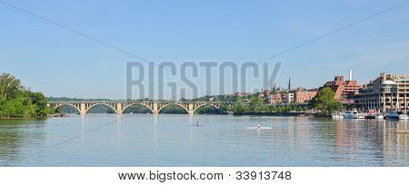 Washington DC - Key Bridge and Georgetown with Potomac River panoramic view