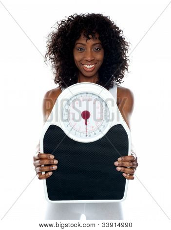 African Athlete Showing Weighing Scale