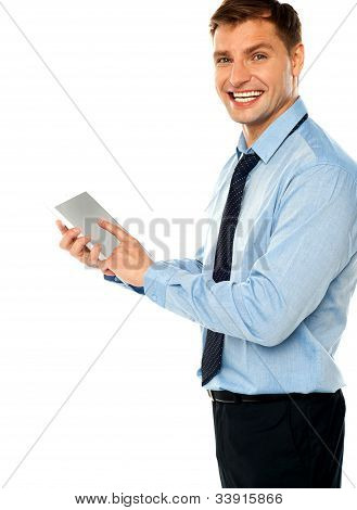 Businessman With Electronic Touch Pad Tablet