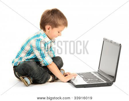 funny little boy with notebook isolated on white