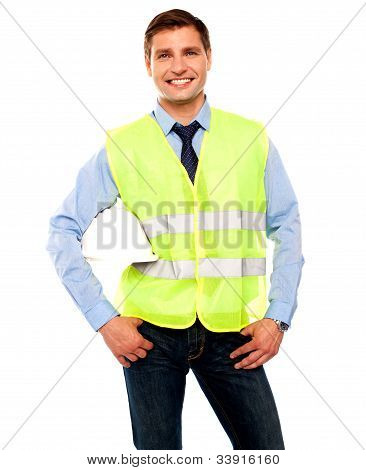 Male Architect Posing With Hard Hat