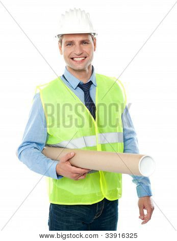 Young Architect Holding Construction Map