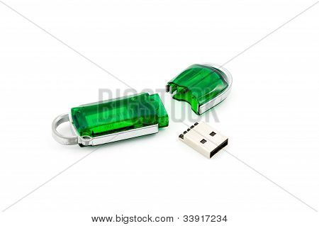 Crashed Usb Flash Memory, Isolated On White Background