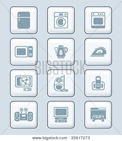 Modern home electronics gray icon-set