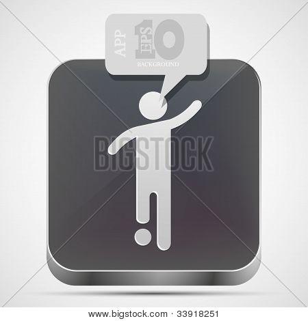 Vector icono de la aplicación de fútbol con discurso de burbuja gris. Eps10