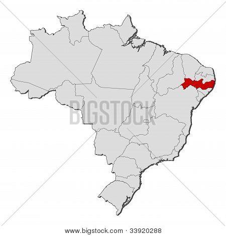 Map Of Brazil, Pernambuco Highlighted