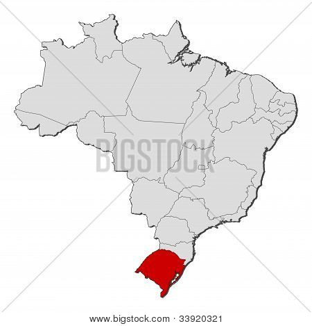 Map Of Brazil, Rio Grande Do Sul Highlighted