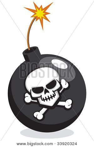 Cartoon Bomb with Skull and Crossbones