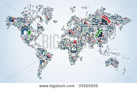 Property Service Icons World Map