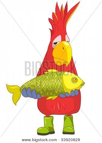 Cartoon Character Funny Parrot Isolated on White Background. Fisherman. Vector EPS 10.