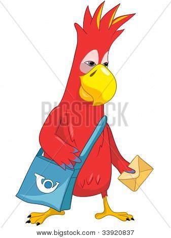 Cartoon Character Funny Parrot Isolated on White Background. Postman. Vector EPS 10.