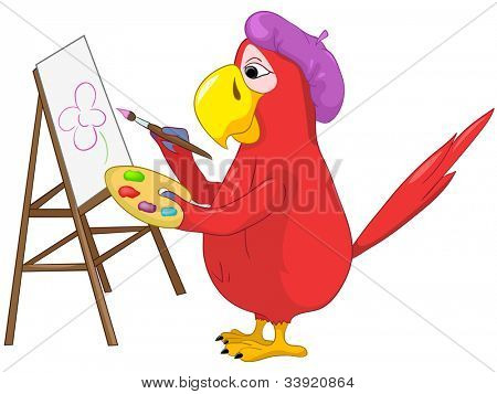 Cartoon Character Funny Parrot Isolated on White Background. Artist. Vector EPS 10.