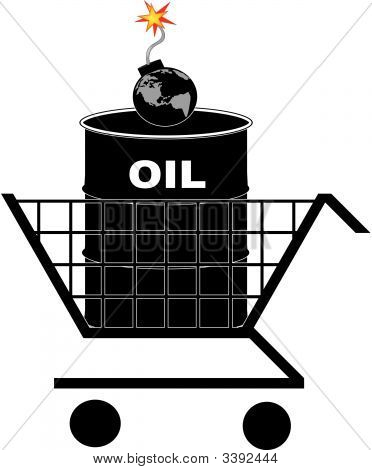 Shopping Cart Oil Barrel Earth Bomb.
