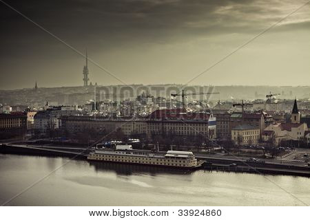 View on the Prague at sunset, Czech Republic, Europe.