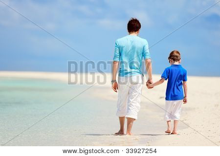 Back view of father and son walking at tropical beach