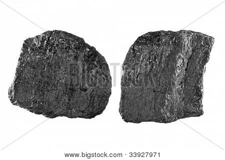Two chunks of bituminous carbon use to generate power isolated on white