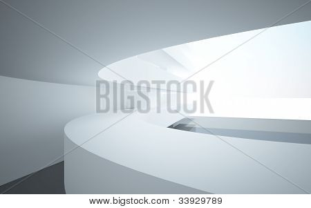 Abstract interiors with stylized, abstract white balconies