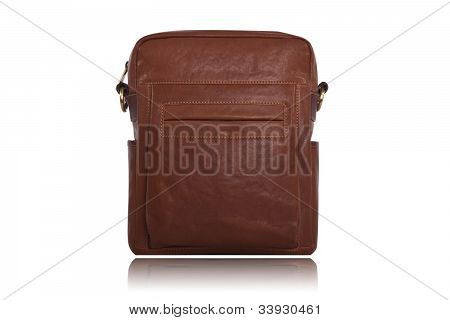 Men's brown leather bag