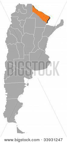 Mapa da Argentina, Formosa destacada