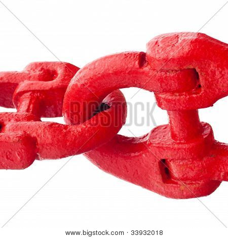 Big painted red chain links isolated on white