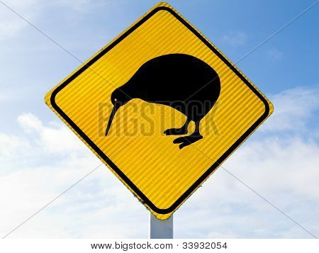 Attention Kiwi Crossing Road Sign