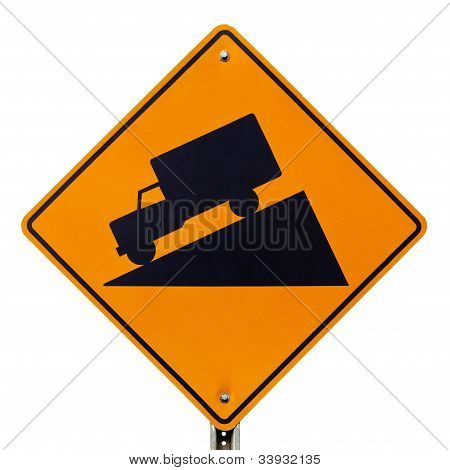 Steep grade hill ahead warning road sign on white