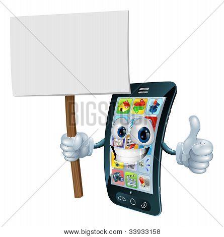 Anúncio placa sinal celular homem