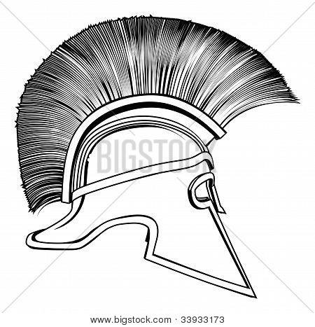 Casco antiguo guerrero griego de blanco y negro