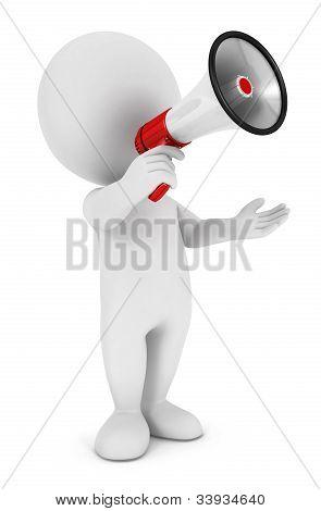 3d white people megaphone