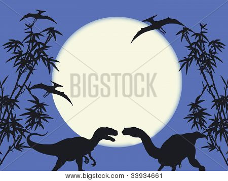 Dinosaures on  moonlight