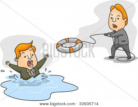 Illustration of a Man Helping a Drowning Man