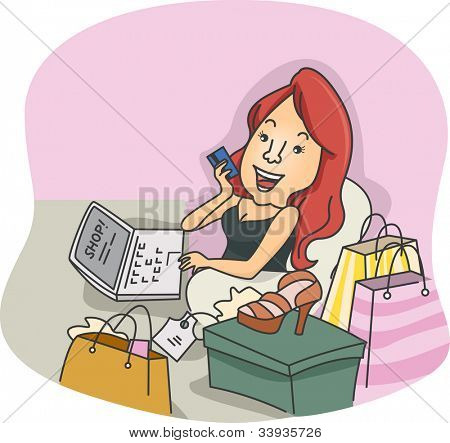 Ilustración de una chica haciendo compras en línea