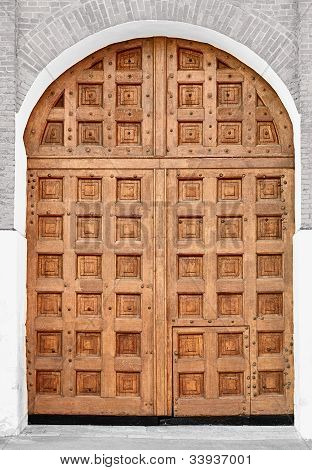 Big Old Wooden Gate - Moscow Kremlin, Russia.
