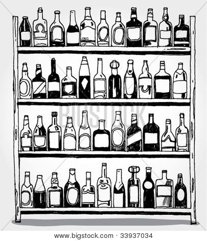 Doodled bottles on shelf