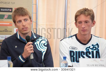 MOSCOW, RUSSIA - JUNE 6: Yaroslav Koshkarev (speak) and Konstantin Semenov on a press conference in opening the Beach Volleyball Swatch World Tour in Moscow, Russia at June 6, 2012.