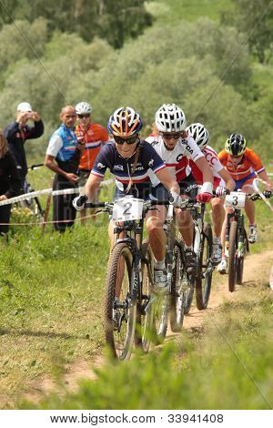 MOSCOW, RUSSIA - JUNE 9: Leading group in woman's race during European Mountain Bike Cross-country Championship in Moscow, Russia at June 9, 2012