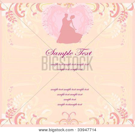 abstract Ballroom couple dancers - invitation card , vector illustration