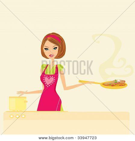 Bela senhora cozinhando na cozinha, ilustração vetorial