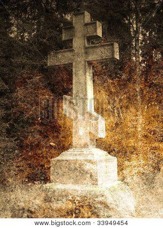 Old cross on the churchyard