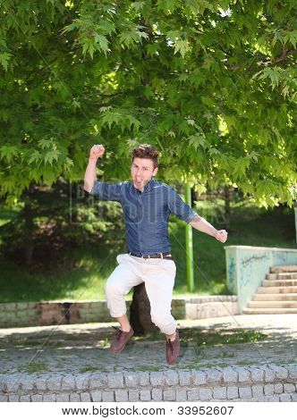 Jumping Red Hair Man