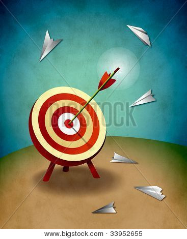 Archery Target With Bull's Eye Arrow And Paper Airplanes Illustration