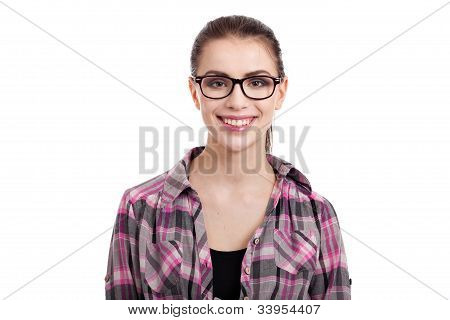 Portrait Of Beautiful Teen Girl With Wayfarers