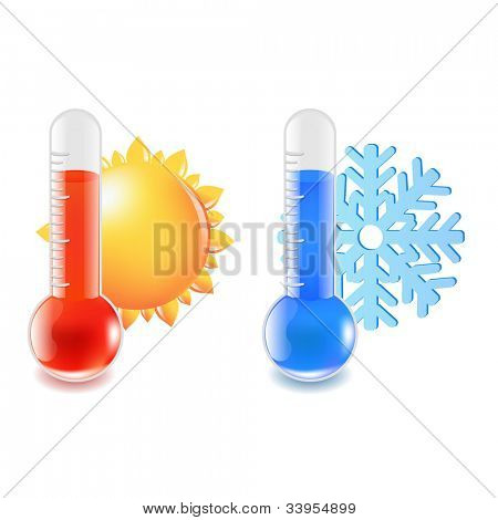 2 Thermometer Hot And Cold Temperature, Vector Illustration