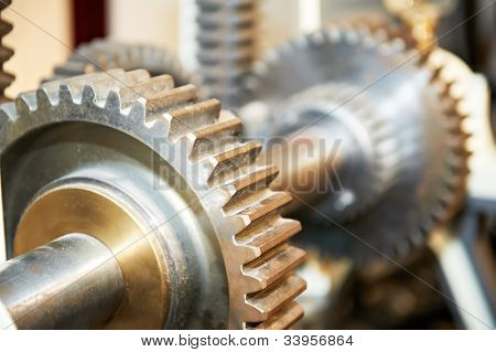 Close-up of opened engine steel gears on driving shaft
